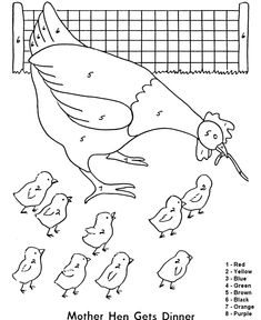 Color by Numbers Page   Farm Hen with a worm
