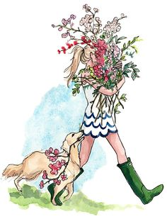 puppies and scallops and flowers illustration by Inslee Haynes Preppy Southern, Southern Charm, Calendar Girls, Calendar 2014, Art And Illustration, Watercolor Illustration, Fashion Sketches, Fashion Illustrations, Art Illustrations