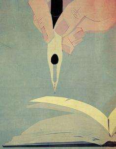 """다음 @Behance 프로젝트 확인: """"The pleasure to dive into writing (editorial illustr.)"""" https://www.behance.net/gallery/45318587/The-pleasure-to-dive-into-writing-(editorial-illustr)"""