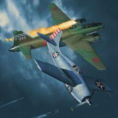 Butch... Medal of Honor, by Jack Fellows (Grumman F4F Wildcat vs Mitsubishi G4M 'Betty')