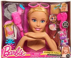 Just Play Barbie Color Crimpzange & Crimp Blonde Styling Head. Ages 3 and up. Merkmale Color Change Lips and Nails Crimpzange Crimp Fun Patterns & Designs Into Hair Clip in Bangs. Play Barbie, Barbie Toys, Barbie Stuff, Barbie Camper, Barbie Styling Head, Promo Amazon, Amazon Fr, Hair Crimper, Heart Shaped Sunglasses