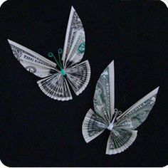 this is so awesome!!!  money origami butterfly  great birthday gift :)