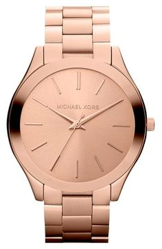 513b12e04ba05 Michael Kors Women s  Slim Runway  Rose Goldtone Watch, Red, Size One Size  Fits All (Stainless Steel)