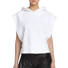 Rag & Bone Roni Short-Sleeve Cotton Hoodie ($65) ❤ liked on Polyvore featuring tops, hoodies, bright white, short sleeve tops, hooded sweatshirt, hoodie pullover, short sleeve hoodies and sweatshirt hoodies