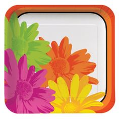 Set a spring table with blooming with bright colors and floral flourishes!  The Floral Stripes Square Paper Lunch Plate features vibrant daisies in bright green, orange, magenta, and yellow on a white background with an orange border and are perfect for plating a primo picnic.  Each plate measures 9 inches by 9 inches and comes in a pack of 8.<br />