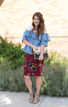 Aztec and Chambray: Chambray ruffle top outfit / aztec skirt / outfit inspo / booties with skirt outfit