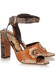 Valentino|Covered printed leather sandals|NET-A-PORTER.COM #designersandals #valentino #women #designer #covetme