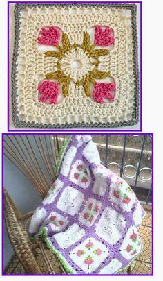 Tecendo Fios. Profissão, Arte e Terapia através do crochê, tricô e muito mais: MANTA DE CROCHÊ COM TULIPAS