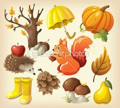 Набор элементов и элементов, которые представляют осень