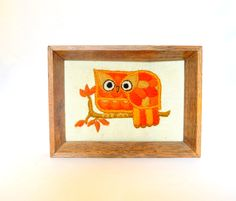 Vintage Orange Owl Crewel Wall Hanging, Embroidered Picture in a Wood Frame by UpswingVintage on Etsy