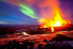 Iceland is Northern Lights over a volcanic eruption