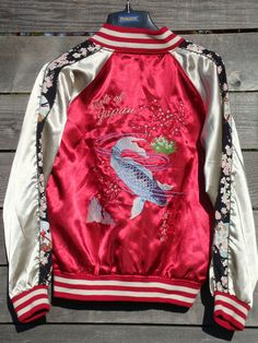 40's 80's Japan Souvenir Embroidered KOI FISH satin by Simplemiles, $79.99