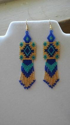 Native American Style Beaded Rug Earrings Turquoise Gold and Dark Blue Southwestern, Boho, Peyote, B Native American Earrings, Native American Beadwork, Native American Fashion, Native Beadwork, Seed Bead Jewelry, Seed Bead Earrings, Hoop Earrings, Beaded Earrings Patterns, Beading Patterns