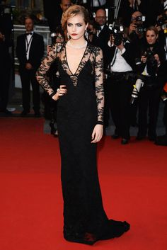 Cara Delevingne at Cannes in 2013 wearing Burberry dress