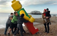 Giant lego man on Brighton beach