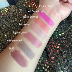 Gerard Cosmetics lipstick swatches :: Kimichi Doll, All Dolled Up, Tequilla Sunrise, Butter Cup, Rodeo drive, Underground, & 1995 Tequilla Sunrise, Gerard Cosmetics Lipstick, Lipstick Swatches, Rodeo, Kiss, Glow, Butter, Makeup, Pretty