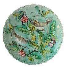 French Country Cottage Decor - Wall Onnaing Blue Majolica Plate - Birds Berries