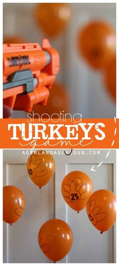 turkey shoot game--fun activity to play for Thanksgiving with balloons and a nerf gun! turkey shoot game--fun activity to play for Thanksgiving with balloons and a nerf gun! Thanksgiving Diy, Thanksgiving Traditions, Thanksgiving Birthday, Thanksgiving Activities For Kids, Thanksgiving Celebration, Decorating For Thanksgiving, Turkey Birthday Party, Traditional Thanksgiving Dinner, Halloween Games For Kids