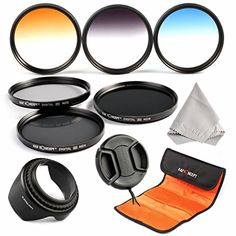 K&F Concept 52mm 10 teiliges Slim Objektiv 3er Verlaufsfilter Grau Orange Blau Farbfilter Neutrale Dichte ND2 ND4 ND8 Filter Set Kamera Zubehör Set 52mm Gegenlichtblende für Nikon D5300 D5200 D5100 D3300 D3200 D3100 DSLR Kamera+ Objektivkappe + Reinigungstuch für Objektive + Filtertasche - http://kameras-kaufen.de/k-f-concept/k-f-concept-52mm-10-teiliges-slim-objektiv-3er-grau