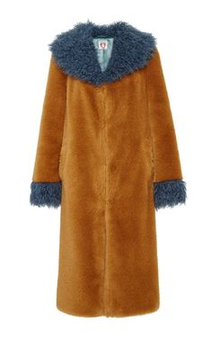 Hickory Coat In Ginger And Blue Grey by Shrimps for Preorder on Moda Operandi