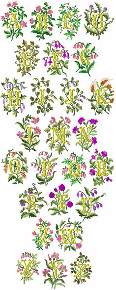 Blossoms font machine embroidery designs