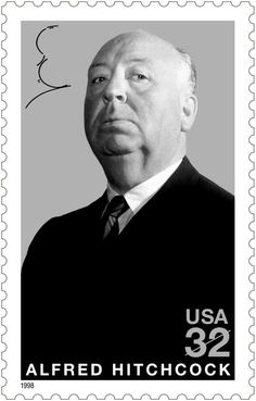 Alfred Hitchcock, the English movie director of suspense film, was born. Alfred Hitchcock, Postage Stamp Art, Going Postal, Love Stamps, Vintage Stamps, Tampons, Stamp Collecting, My Stamp, Hollywood