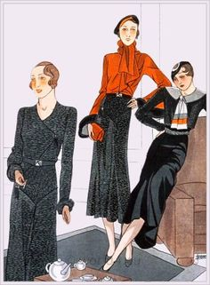Créations by Maggy Rouff and Jenny, 1933. French art deco fashion