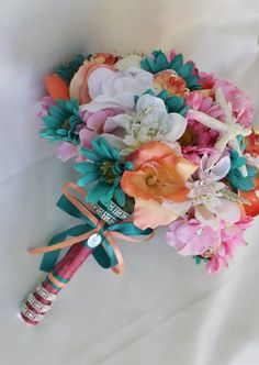 Wedding Bouquet  Teal  Pink  Coral  Star by ForeverDenimandLace, $98.00