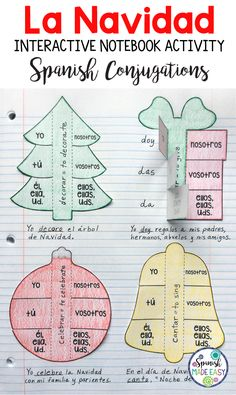 La Navidad, Spanish Christmas interactive notebook activity with verb conjugations.