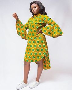 SOLD OUT🚫‼️ Lola shirt dress now on SALE for Limited quantities available Modern African Print Dresses, African Dresses For Women, African Attire, African Wear, African Fashion Ankara, African Print Fashion, Yellow Pencil Skirt Outfit, South African Traditional Dresses, Couples African Outfits