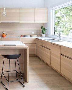 32 Stunning Modern Contemporary Kitchen Cabinet Design - especially. Kitchen Room Design, Best Kitchen Designs, Kitchen Cabinet Design, Kitchen Layout, Interior Design Kitchen, Kitchen Decor, Kitchen Ideas, Diy Kitchen, Kitchen Inspiration