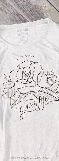 Handcrafted women's Christian Flowy Dolman Tee. Rose, John 10:10 Gives Life Abundantly, soft heather white triblend. FREE SHIP USA. MercyRoadApparel.com    This design is copyrighted ©2016MercyRoadApparel