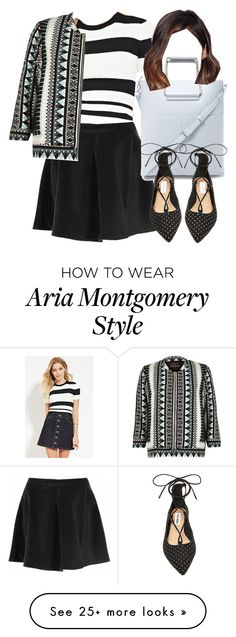 """""""Aria Montgomery inspired outfit with a bomber jacket"""" by liarsstyle on Polyvore featuring Glamorous, Love 21, River Island, Forever 21, Steve Madden and ss"""