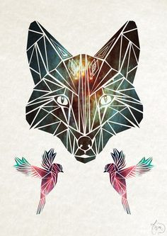 fox Art Print...geometric tattoo inspiration. I like the birds