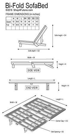 AmazonSmile: Full Size Bi-Fold Futon Sofa Bed - Frame Only: Kitchen & Dining