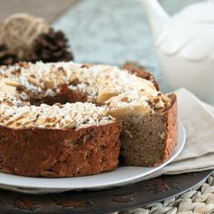 Vegan, Grain Free, Gluten Free, Low Fat AND No Sugar Added, Apple Ring Cake!  I am a bit dubious about how this tastes but I am willing to give it a shot.  Fingers crossed!!