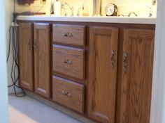 Painting Bathroom Cabinets Marvelous How To Paint Bathroom Cabinets Withheart Picture Of New Painting Bathroom Cabinets, Paint Bathroom, Bathroom Ideas, Oak Cabinets, Kitchen Cabinets, Brown Paper Packages, Beautiful Bathrooms, Cabinet Doors, Vanity