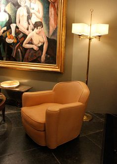 Jules Leleu, Rare Pair of 1945 Leather Club Chairs.  French art deco.  Really lovely in person.