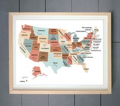 Housewarming Gift United States Map Usa State Capitals Classroom Wall Art Print Travel Map Poster Can You Name The Capital Cities