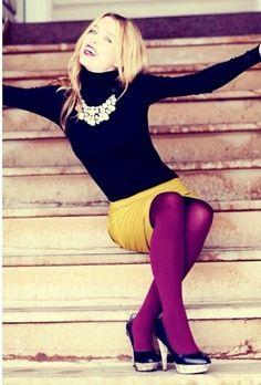 Purple tights, omg! Want!