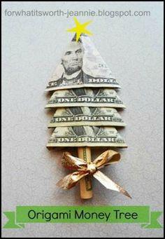 origami-money-tree Christmas gift idea