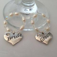 Bride & Groom Wine Glass Charms