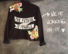 Black jeans custom hand painted feminist jacket by @ceuhandmade