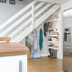 White staircase with storage space underneath Understairs Storage Space Staircase storage white Staircase Storage, Hallway Storage, Stair Storage, Storage Spaces, Closet Under Stairs, Space Under Stairs, Under The Stairs, Under Staircase Ideas, Under Stairs Cupboard