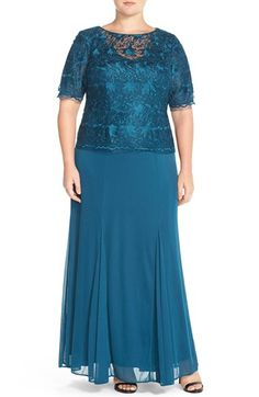 Alex Evenings Mock Two-Piece Lace & Chiffon A-Line Gown (Plus Size) available at #Nordstrom