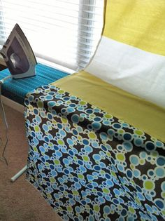 how to iron curtain panels + hem in place (while hanging)