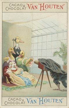 This is a Dutch chocolate trade card in our collection. See the posing stand behind the duck father? Does that mean he is DEAD? Of course not, The foul (not sure his species) photographer is using it, as did all 19th century photographers, to help Daddy Duck hold still.