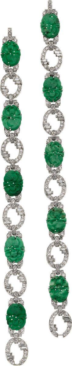 Jadeite Jade, Diamond, Platinum Bracelets. looks vintage, I love how they wore two of the larger bracelets. So decadent~