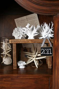 Pottery Barn inspired coral ... cheapo aquarium decorations from Walmart, spray painted ... who knew?