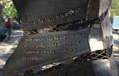 Most Of Us Are Immigrants -Detail, Sara D. Roosevelt Park, NYC;  8' x 50' x 18'; steel